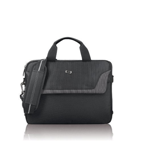 Laptop Attache Gray (Solo Flatiron 14.1 Inch Laptop Slim Brief, Black/Grey)