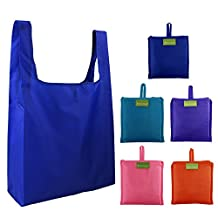 Reusable Grocery Bags Set of 5, Grocery Tote Foldable into Attached Pouch, Ripstop Polyester Reusable Shopping Bags, Washable, Durable and Lightweight