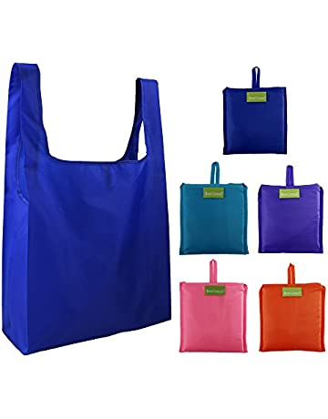 8bef4ba80 Reusable Grocery Bags Set, Grocery Tote Foldable into Attached Pouch,  Ripstop Polyester Reusable Shopping