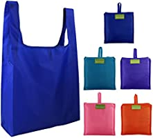 Reusable Grocery Bags Set, Grocery Tote Foldable into Attached Pouch, Ripstop Polyester Reusable Shopping Bags...