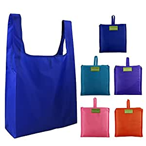 Reusable Grocery Bags Set of 5, Grocery Tote Foldable into Attached Pouch, Ripstop Polyester Reusable Shopping Bags, Washable, Durable and Lightweight (Royal,Purple,Pink,Orange,Teal)