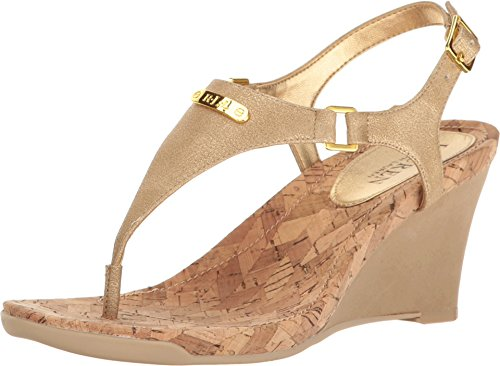 LAUREN Ralph Lauren Women's Nikki Gold Wedge (Ralph Lauren Gold Sandals)