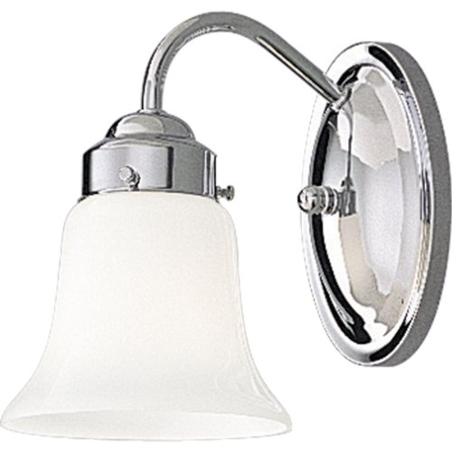 [Progress Lighting P3373-15 Single-Light Bracket with White Opal Glass, Polished Chrome] (Single Bath Sconce)