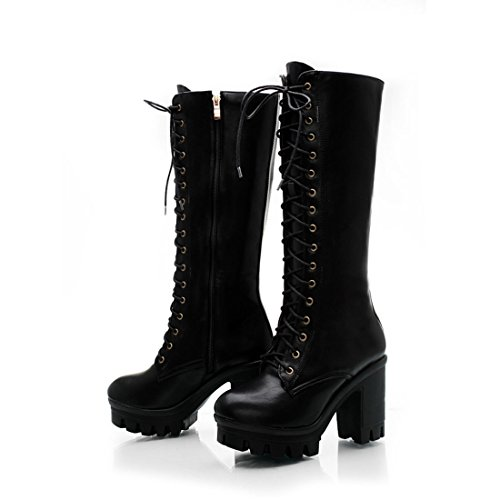(Mostrin Vintage Fashion Women's Mid-Calf Lace up Boots Sexy Platform Chunky High Heel Long Martin Boots)
