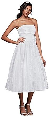 David\'s Bridal Lace Tea-Length Drop Waist Wedding Dress Style OP1284 ...