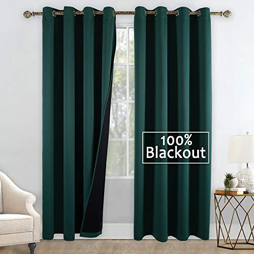 Lined Green Glass - YGO Heat Blocking 100% Blackout Curtains, Durable Black Lined Blackout Curtains for Bedroom, Energy Saving Long Curtains for Patio Sliding Glass Door, Hunter Green, 52-inch x 95-inch, 2 Panels
