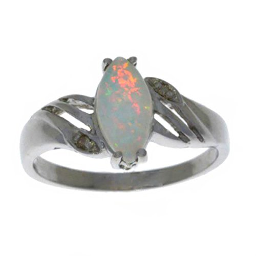 Simulated Opal & Diamond Marquise Ring .925 Sterling Silv...