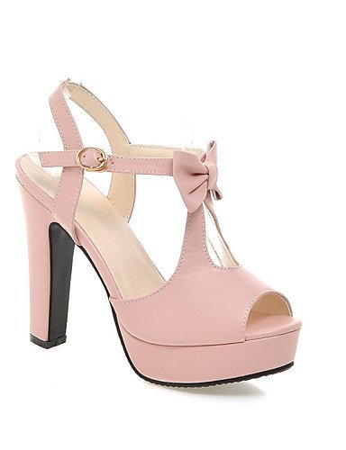 ShangYi Women's Shoes Leatherette Chunky Heel Heels Sandals Wedding / Office & Career / Party & Evening / Blue / Pink / Pink dye0e
