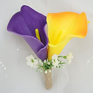 Lily Garden Wedding Bouquet Artificial Flowers Orange and Purple Calla Lily 49