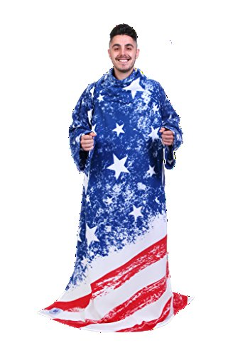 Snuggie Americana- The Original Blanket with Sleeves, Warm Fleece, Fits Most Adults 71x 54, Red, White & Blue America Flag- Bonus Warm Cozy Socks Included