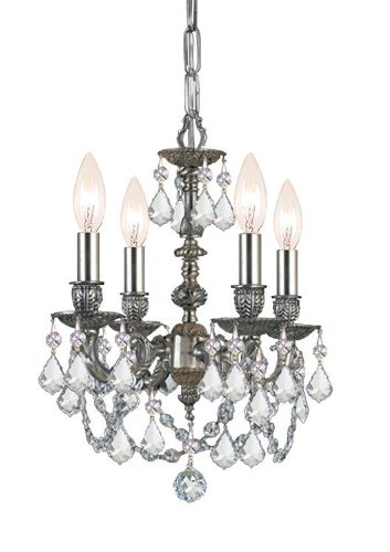 5504-PW-CL-MWP Gramercy 4LT Mini-Chandelier, Pewter Finish with Clear Hand Cut Crystal