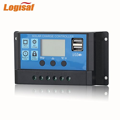 Logisaf 30A 12V/24V Solar Controller LCD Solar Panel Regulator Charge Controller Dual USB Port by Logisaf