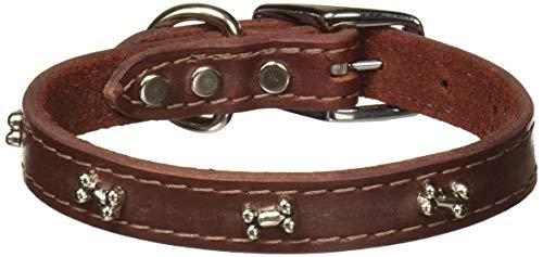 (OmniPet Leather Brothers 3/4 x 16-Inch Bone Latigo Dog Collar, Medium, Burgundy )