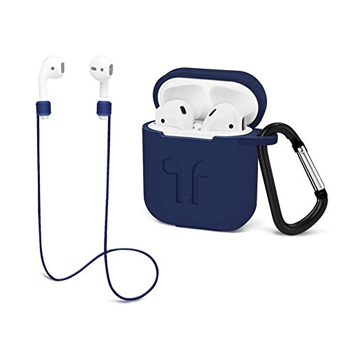 Airpods Protective case with Strap Silicone Cover Keychain Strap for Apple Airpod Accessories - Luxury Blue by GIM