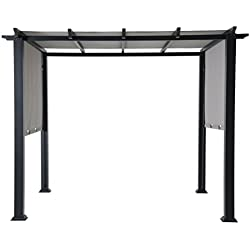 Hanover HAN-PERGOLA 8 x 10 ft. Metal Adjustable Gray Canopy Outdoor