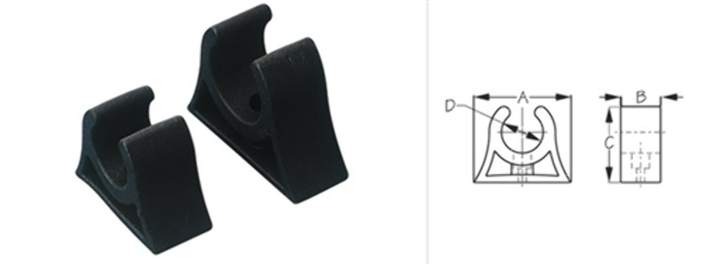 Pole Storage Clips 1'' Molded Rubber