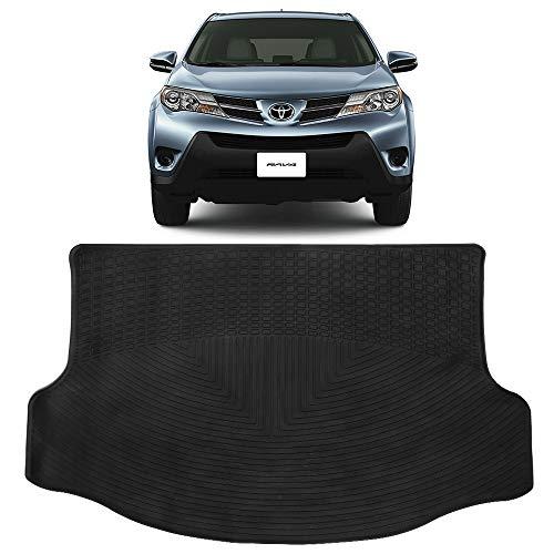 Cargo Tray Fits 2013-2019 Toyota RAV4 Trunk | Latex All Seasons Weather Interior Black Carpet Floor Mats By IKON MOTORSPORTS (Carpet Rav4 Trunk)