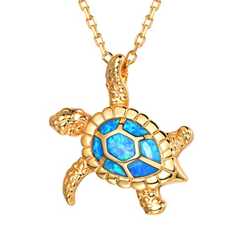 925 Sterling Silver Dainty Sea Turtle Charm Birthday 18K Gold Opal Crystal Ocean Jewelry Birthday/Graduation Gift for Women/Girls ()