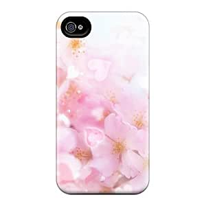Iphone 4/4s Hard Back With Bumper Silicone Gel Tpu Case Cover Pretty Pink Blossoms