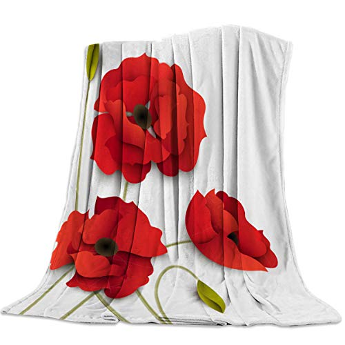 (Soft Blanket Throw All Season Fleece Blankets Lightweight Warm Luxury Cozy Bed Blanket for Sofa Travel Couch,Red Poppy 50