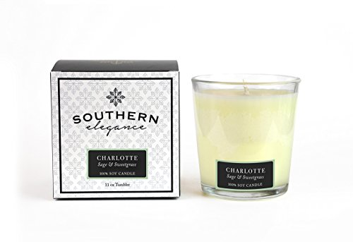 Southern Elegance Charlotte: Sage and Sweetgrass Scented Soy Candle 11 oz Soy tumbler