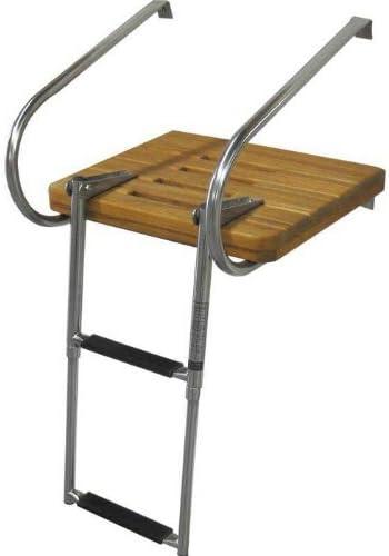 Amarine-made - Escalera para barco (inoxidable, con plataforma de madera de teca, 2 peldaños): Amazon.es: Deportes y aire libre