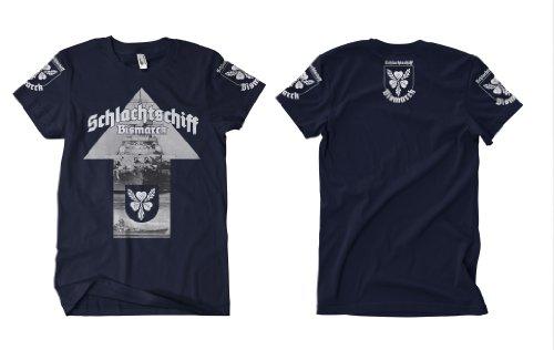 Schlachtschiff Bismarck Front und Ärmelprint T-Shirt Navy