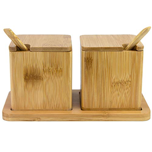 Totally Bamboo Double Dipper Two Salt Boxes with Spoons and Tray, Bamboo, 6 Ounce Capacity Each (Salt & Containers Pepper)