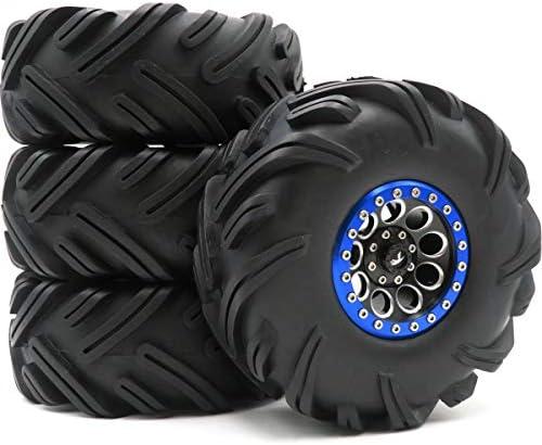 2.2クローラー泥地形タイヤ 砂雪タイヤ 高さ135mm & アルミ2.2ビードロックホイール 六角12mm 4個