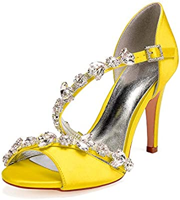 Lianyunneiyi Womens Satin Spring Summer Sweet Wedding Shoes