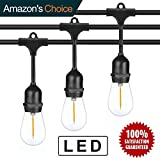 Outdoor LED String Lights 48 FT/Edison Bulb FULE String Lighting for Porch Garden Deck Backyard Cafe Bar Wedding Party UL Listed/Patio Lights