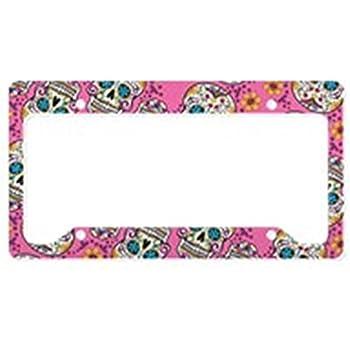 Amazon.com: CafePress - Sugar Skull Halloween Pink License Plate ...