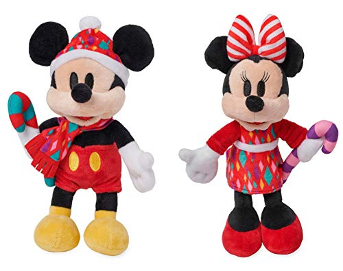 Disney Mickey and Minnie Mouse Christmas Holiday Plush - Mini Bean Bag Set of 2 ()