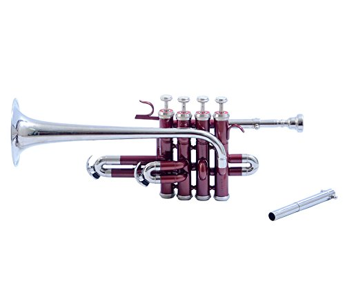 Shreyas Beautifully Styled Classy Look Excellent Piccolo Trumpet BB Red and Nickel