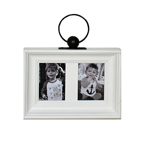 (Parisloft Wood and Metal Vintage Double Opening Antique Collage Picture Frames with Metal Ring Hanger,White French Wall Hanging Multi Photo Frames 3.5''x5'',White (White 2 Openings 3.5x5''))