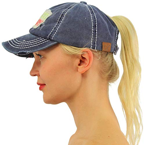 C.C Ponytail Messy Buns Trucker Ponycaps Plain Baseball Visor Cap Dad Hat Distressed Beach Happy Denim