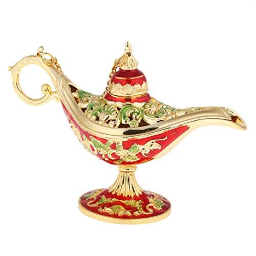 MonkeyJack Flower Craved Oil Lamp Magic Panto Arabian Light Aladdin Genie Lamp Box Party Prop - Red by MonkeyJack