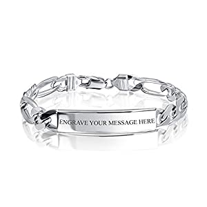 Personalized Name Plate 925 Sterling Silver Figaro Link ID Identification Bracelet For Men Made In Italy Custom Engraved 9