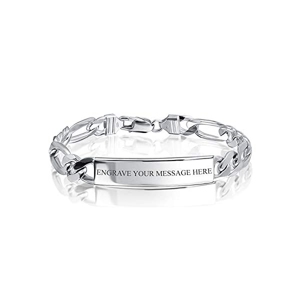 Personalized Name Plate 925 Sterling Silver Figaro Link ID Identification Bracelet For Men Made In Italy Custom Engraved 1
