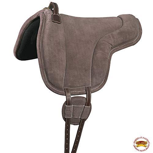 HILASON Horse Bareback Saddle Pad Anti Slip Base Suede Leather Brown