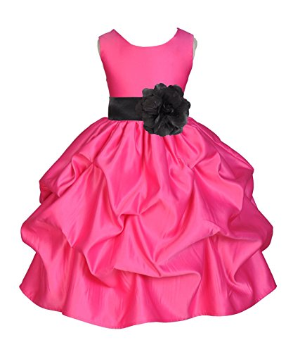 Wedding Pageant Fuchsia Hot Pink Pick-up Satin Flower Girl Dress Easter Summer 208t 4