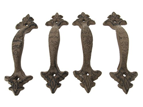 Set of 4 Light Brown Cast Iron Large & Fancy Antique Replica Drawer Pull/Barn Handle Shabby Chic Vintage Crafts and Decor Ash Set Cabinet