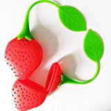 Riaxa - Silicone Strawberry Design Loose Tea Leaf Strainer Herbal Spice Infuser Filter Tools [ 4pc ]