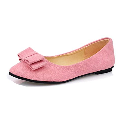 Transer® Ladies Bowknot Low Flats Sandals- Women Home Slippers Female Comfortable Ballet Shoes Pink 4XG5vtmO