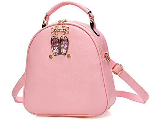 Shoulder Bag Ladies Fashion Backpack PU Leather【With white ball keychain】girls Crossbody Handbag(Pink)