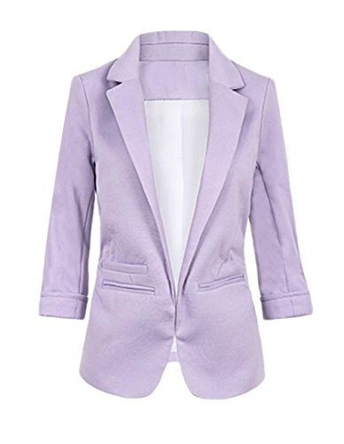 FACE N FACE Women's Cotton Rolled Up Sleeve No-Buckle Blazer Jacket Suits Small Purple