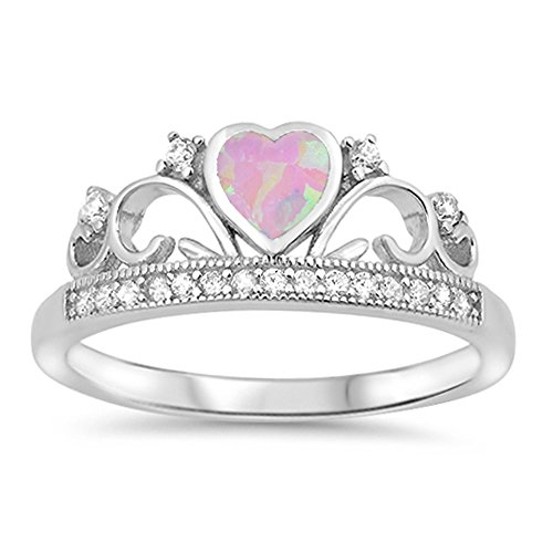 Opal Swirl Ring (Pink Simulated Opal Heart Crown Swirl Promise Ring 925 Sterling Silver Band Size 7)
