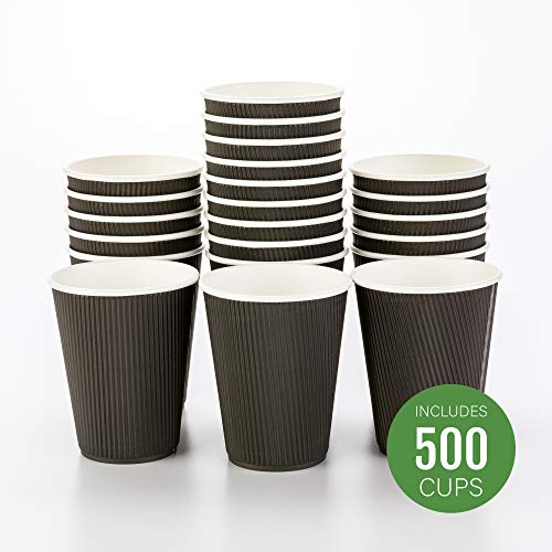 500-CT Disposable Black 12-OZ Hot Beverage Cups with Ripple Wall Design: No Need for Sleeves - Perfect for Cafes - Eco-Friendly Recyclable Paper - Insulated - Wholesale Takeout Coffee Cup