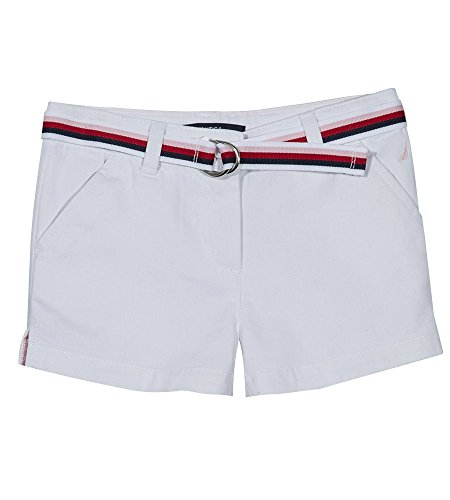Nautica Big Girls' Solid Woven Short, White with Belt, 14 by Nautica
