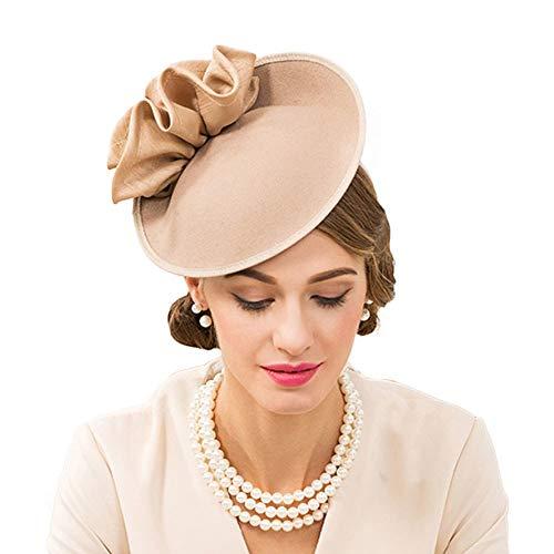 FADVES Wedding Wool Pillbox Fascinators Felt Fedora Hats Women Flower Derby Church Tilt Hat Khaki